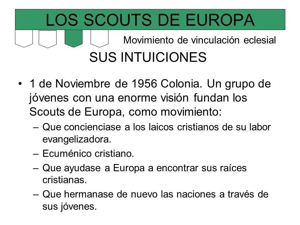 LOS SCOUTS DE EUROPA SUS INTUICIONES 1 de Noviembre de 1956 Colonia. Un grupo de jóvenes con una enorme visión fundan los Scouts de Europa, como movim