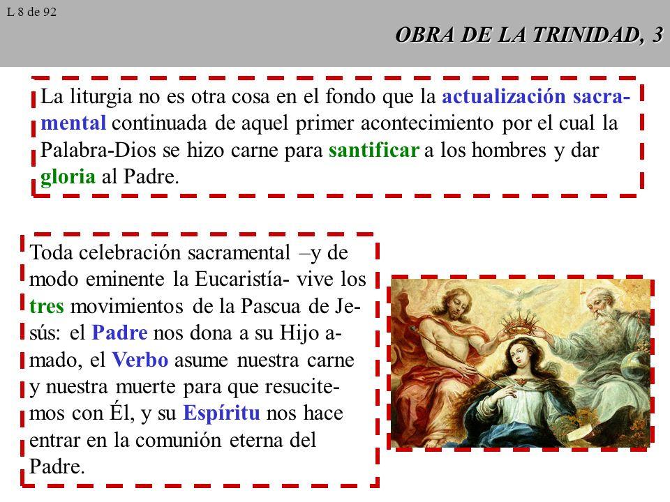 OBRA DE LA TRINIDAD, 3 La liturgia no es otra cosa en el fondo que la actualización sacra- mental continuada de aquel primer acontecimiento por el cua