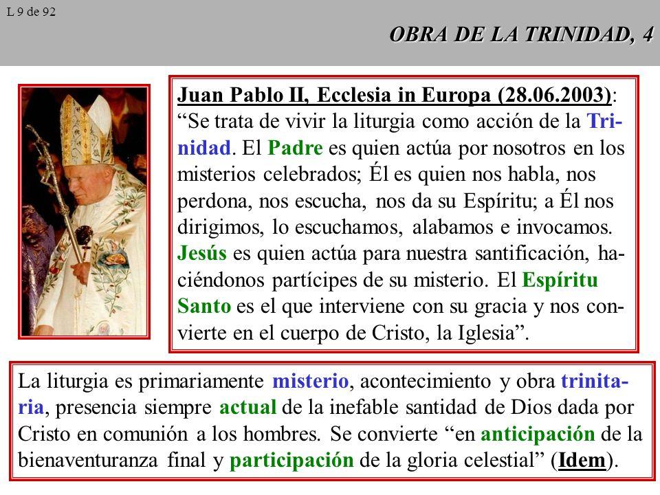 OBRA DE LA TRINIDAD, 4 Juan Pablo II, Ecclesia in Europa (28.06.2003): Se trata de vivir la liturgia como acción de la Tri- nidad. El Padre es quien a
