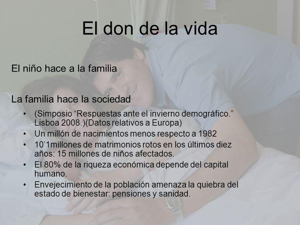 El don de la vida El niño hace a la familia La familia hace la sociedad (Simposio Respuestas ante el invierno demográfico. Lisboa 2008.)(Datos relativ