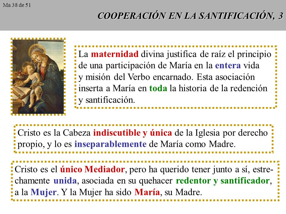 COOPERACIÓN EN LA SANTIFICACIÓN, 3 La maternidad divina justifica de raíz el principio de una participación de María en la entera vida y misión del Verbo encarnado.