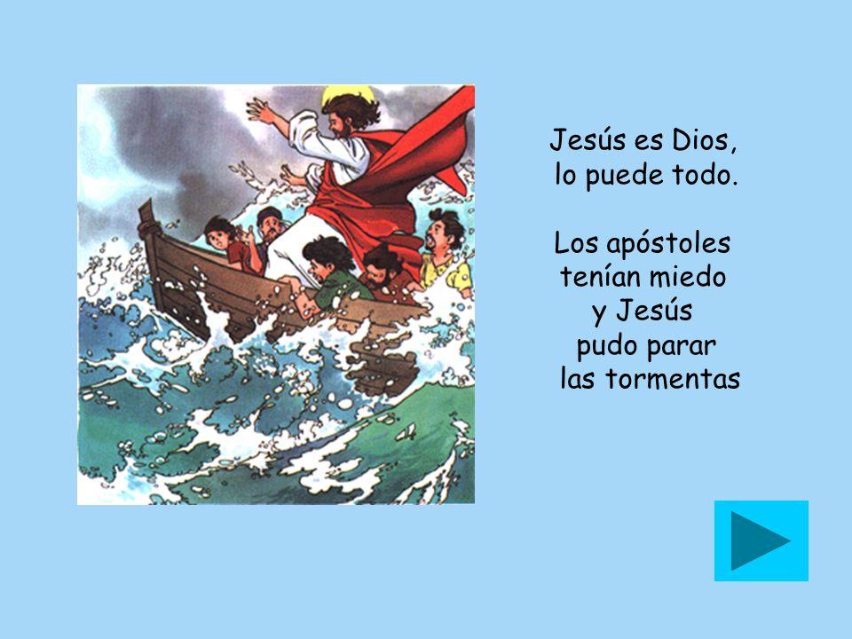 Jesús es Dios, lo puede todo. Los apóstoles tenían miedo y Jesús pudo parar las tormentas