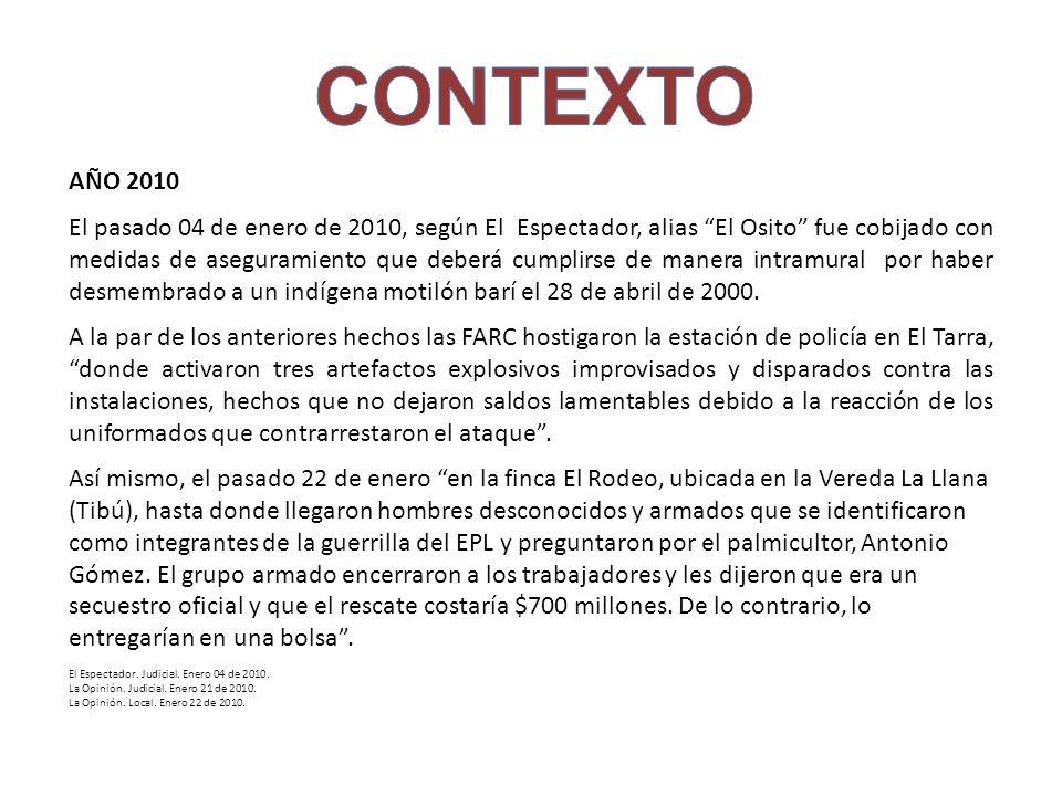 AÑO 2010 El pasado 04 de enero de 2010, según El Espectador, alias El Osito fue cobijado con medidas de aseguramiento que deberá cumplirse de manera i