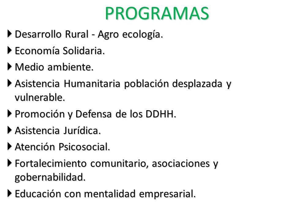 PROGRAMAS Desarrollo Rural - Agro ecología. Desarrollo Rural - Agro ecología. Economía Solidaria. Economía Solidaria. Medio ambiente. Medio ambiente.