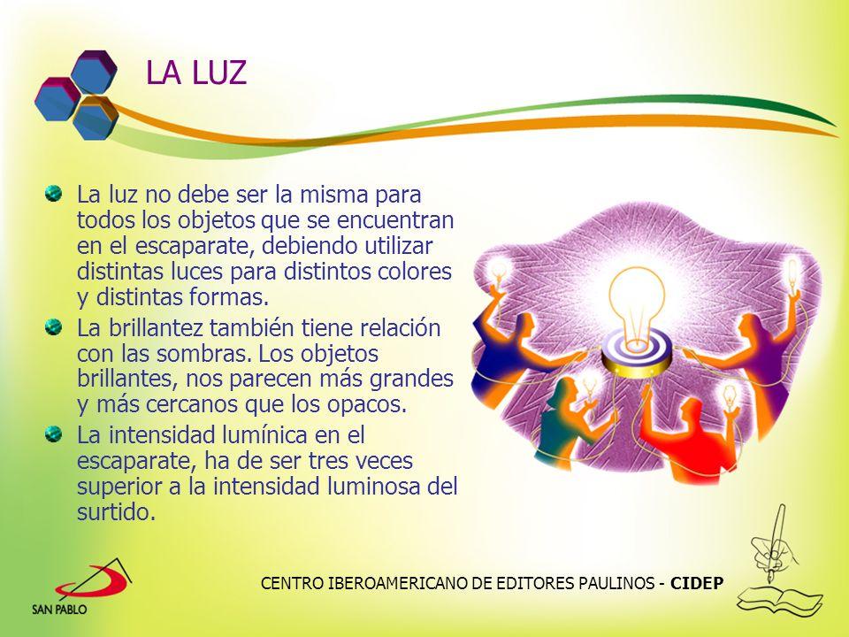 CENTRO IBEROAMERICANO DE EDITORES PAULINOS - CIDEP LA LUZ La luz no debe ser la misma para todos los objetos que se encuentran en el escaparate, debie