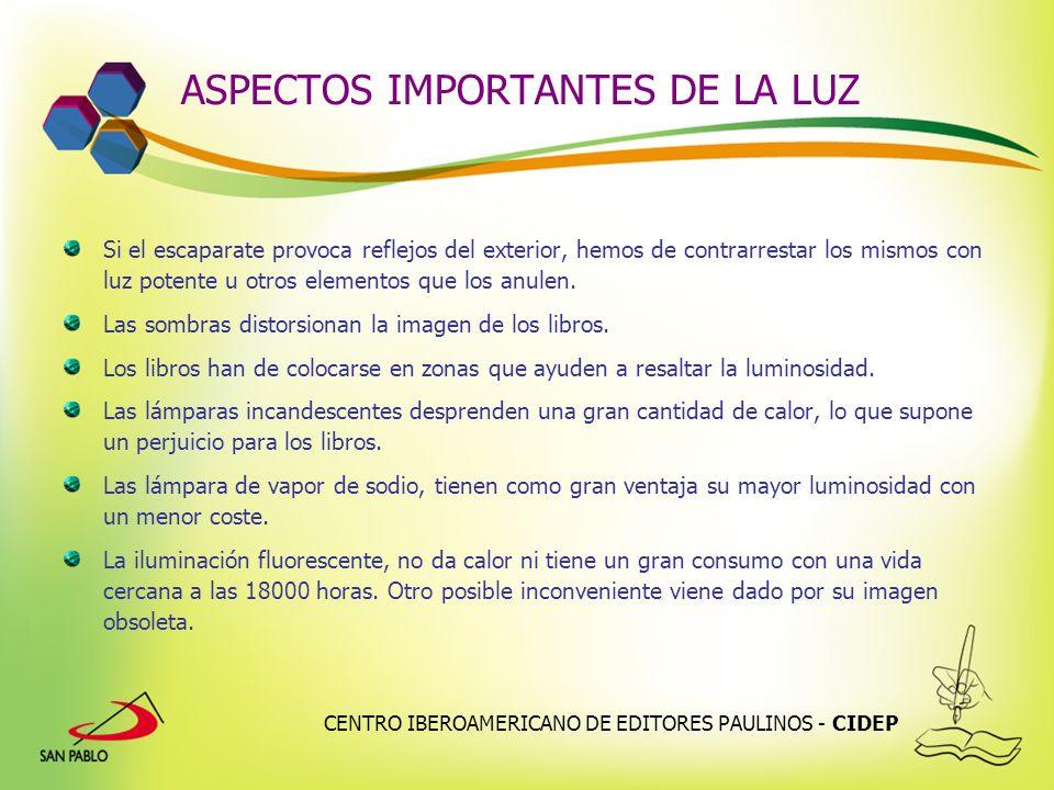 CENTRO IBEROAMERICANO DE EDITORES PAULINOS - CIDEP ASPECTOS IMPORTANTES DE LA LUZ Si el escaparate provoca reflejos del exterior, hemos de contrarrest