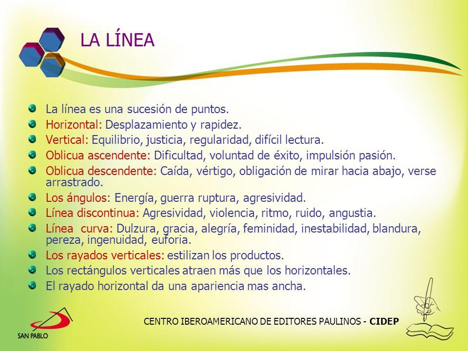 CENTRO IBEROAMERICANO DE EDITORES PAULINOS - CIDEP LA LÍNEA La línea es una sucesión de puntos. Horizontal: Desplazamiento y rapidez. Vertical: Equili
