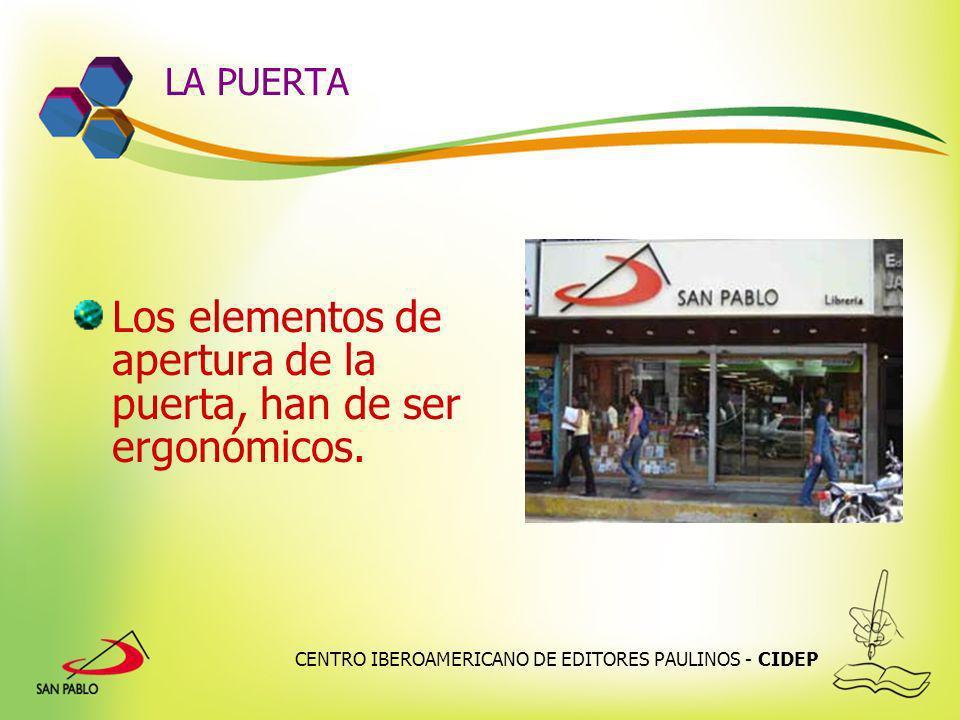 CENTRO IBEROAMERICANO DE EDITORES PAULINOS - CIDEP LA PUERTA Los elementos de apertura de la puerta, han de ser ergonómicos.