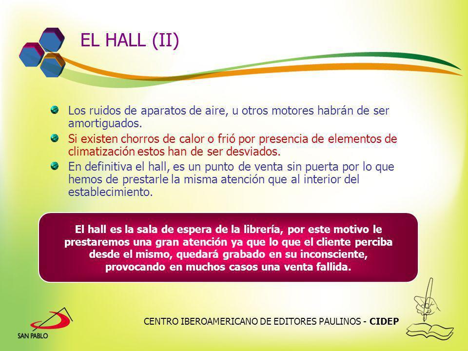 CENTRO IBEROAMERICANO DE EDITORES PAULINOS - CIDEP EL HALL (II) Los ruidos de aparatos de aire, u otros motores habrán de ser amortiguados. Si existen