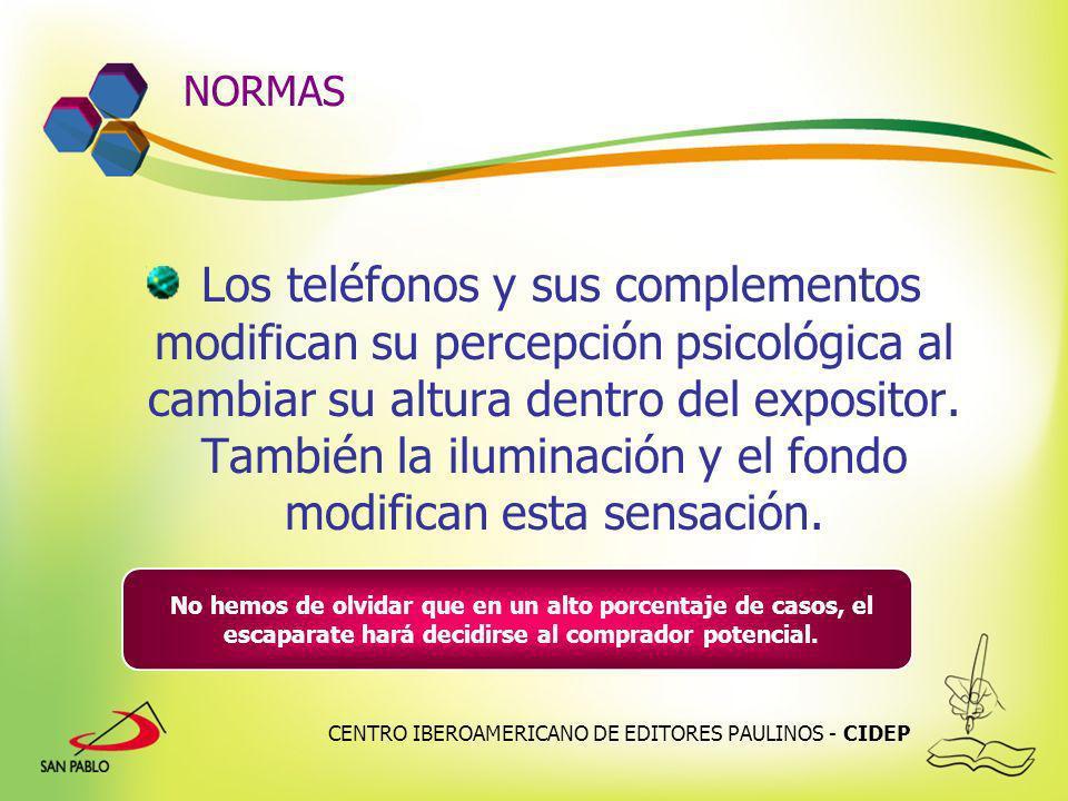CENTRO IBEROAMERICANO DE EDITORES PAULINOS - CIDEP NORMAS Los teléfonos y sus complementos modifican su percepción psicológica al cambiar su altura de
