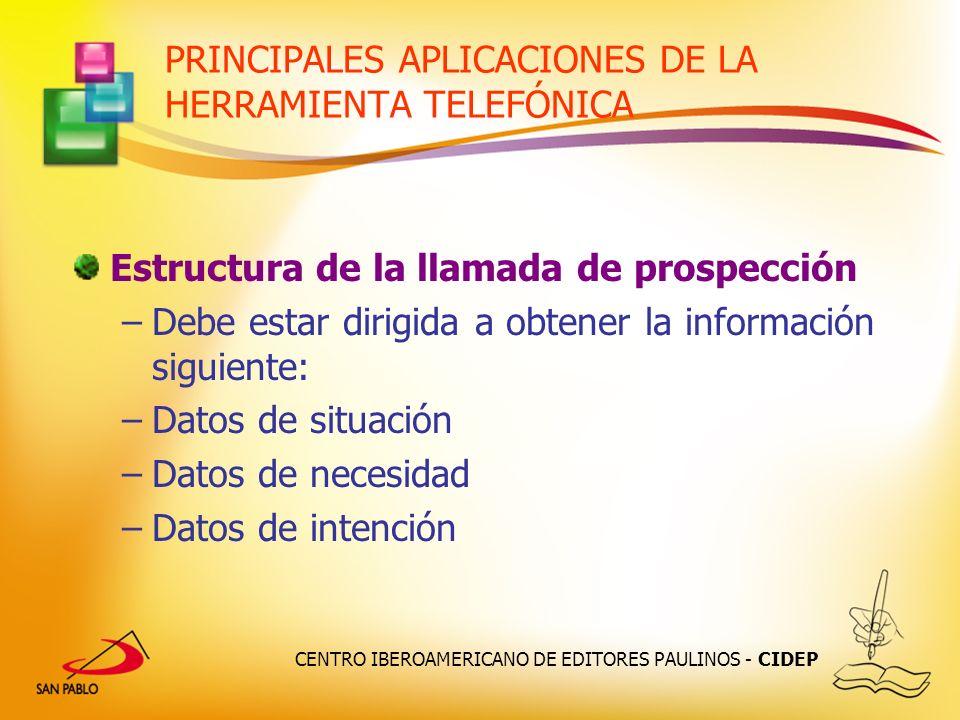 CENTRO IBEROAMERICANO DE EDITORES PAULINOS - CIDEP PRINCIPALES APLICACIONES DE LA HERRAMIENTA TELEFÓNICA Estructura de la llamada de prospección –Debe