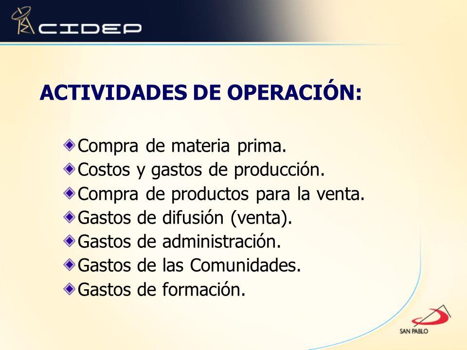 ACTIVIDADES DE OPERACIÓN: Compra de materia prima. Costos y gastos de producción. Compra de productos para la venta. Gastos de difusión (venta). Gasto