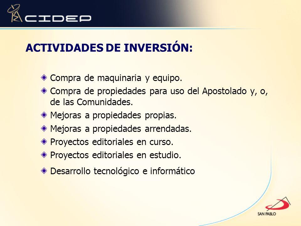 ACTIVIDADES DE INVERSIÓN: Compra de maquinaria y equipo. Compra de propiedades para uso del Apostolado y, o, de las Comunidades. Mejoras a propiedades
