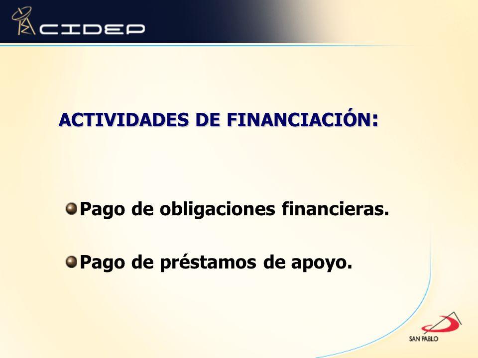 ACTIVIDADES DE FINANCIACIÓN : Pago de obligaciones financieras. Pago de préstamos de apoyo.