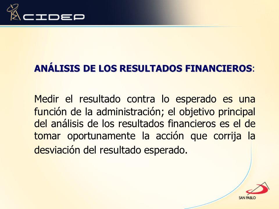 ANÁLISIS DE LOS RESULTADOS FINANCIEROS ANÁLISIS DE LOS RESULTADOS FINANCIEROS: Medir el resultado contra lo esperado es una función de la administraci