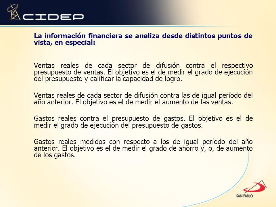 La información financiera se analiza desde distintos puntos de vista, en especial: Ventas reales de cada sector de difusión contra el respectivo presu