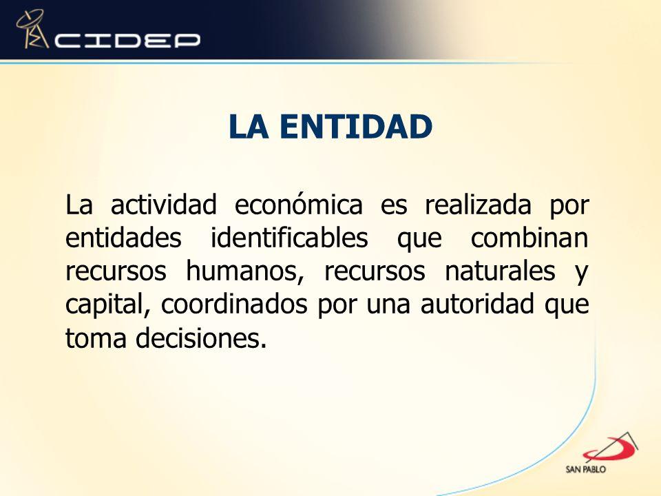 LA ENTIDAD La actividad económica es realizada por entidades identificables que combinan recursos humanos, recursos naturales y capital, coordinados p
