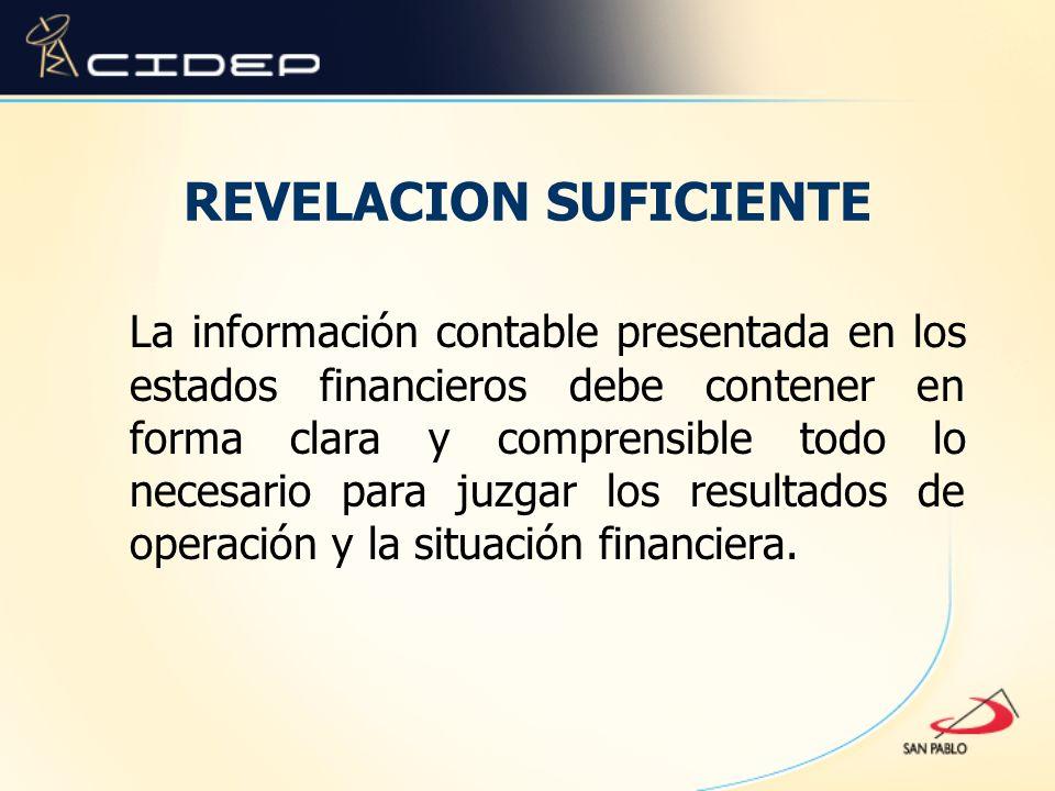 REVELACION SUFICIENTE La información contable presentada en los estados financieros debe contener en forma clara y comprensible todo lo necesario para