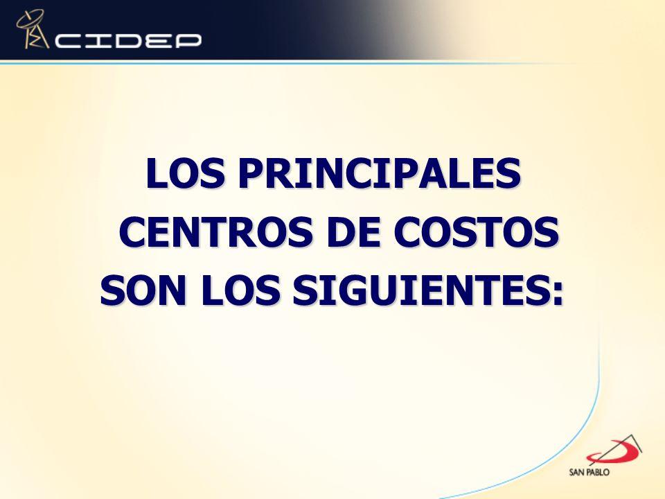 LOS PRINCIPALES CENTROS DE COSTOS CENTROS DE COSTOS SON LOS SIGUIENTES: