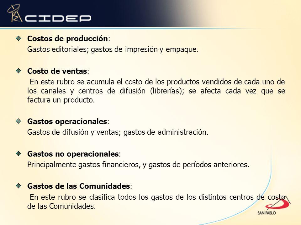 Costos de producción: Gastos editoriales; gastos de impresión y empaque. Costo de ventas: En este rubro se acumula el costo de los productos vendidos