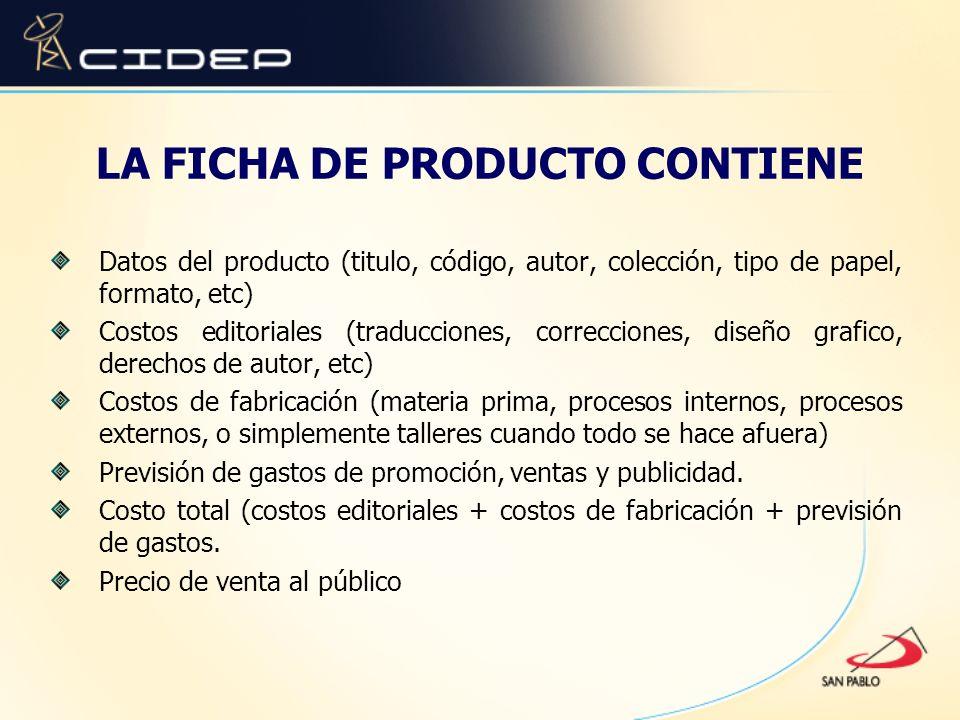 LA FICHA DE PRODUCTO CONTIENE Datos del producto (titulo, código, autor, colección, tipo de papel, formato, etc) Costos editoriales (traducciones, cor