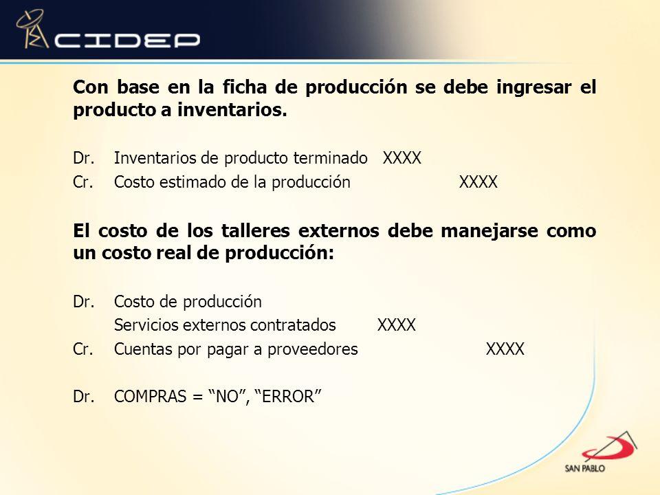 Con base en la ficha de producción se debe ingresar el producto a inventarios. Dr. Inventarios de producto terminado XXXX Cr. Costo estimado de la pro