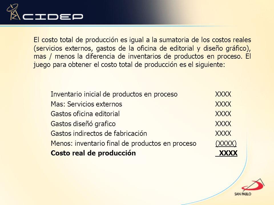 El costo total de producción es igual a la sumatoria de los costos reales (servicios externos, gastos de la oficina de editorial y diseño gráfico), ma