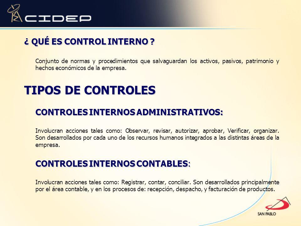 ¿ QUÉ ES CONTROL INTERNO ? Conjunto de normas y procedimientos que salvaguardan los activos, pasivos, patrimonio y hechos económicos de la empresa. TI