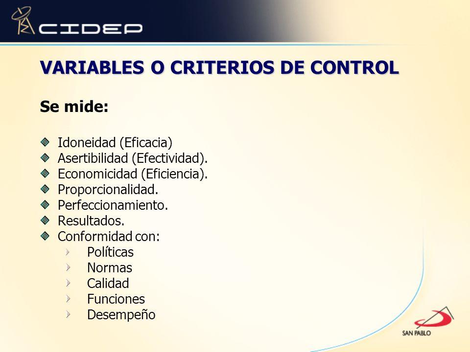 VARIABLES O CRITERIOS DE CONTROL Se mide: Idoneidad (Eficacia) Asertibilidad (Efectividad). Economicidad (Eficiencia). Proporcionalidad. Perfeccionami
