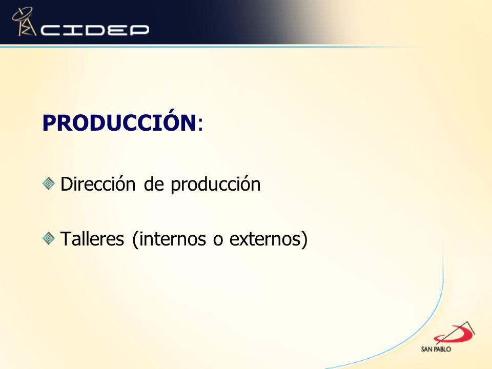 PRODUCCIÓN: Dirección de producción Talleres (internos o externos)