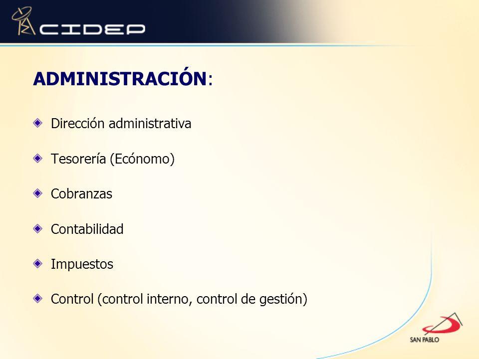 ADMINISTRACIÓN: Dirección administrativa Tesorería (Ecónomo) Cobranzas Contabilidad Impuestos Control (control interno, control de gestión)