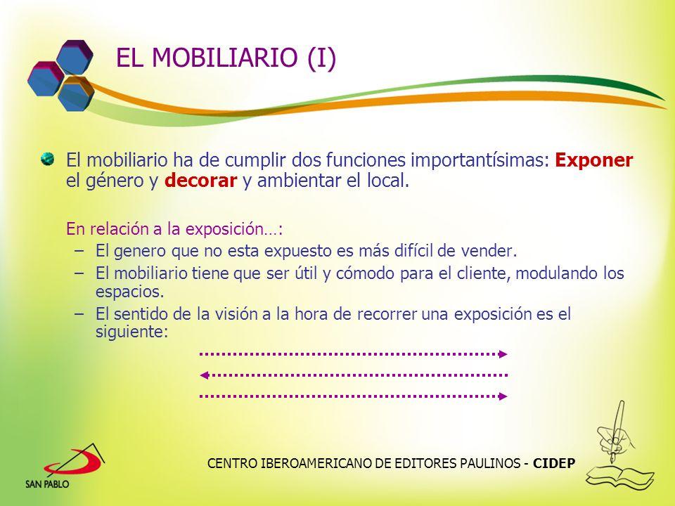 CENTRO IBEROAMERICANO DE EDITORES PAULINOS - CIDEP EL MOBILIARIO (I) El mobiliario ha de cumplir dos funciones importantísimas: Exponer el género y de