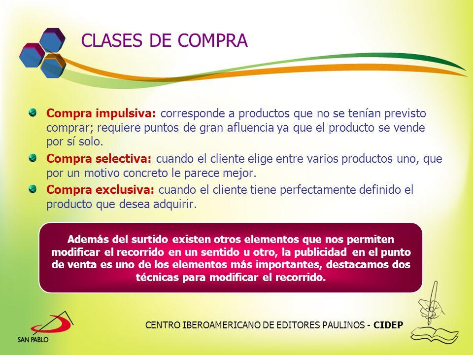 CENTRO IBEROAMERICANO DE EDITORES PAULINOS - CIDEP CLASES DE COMPRA Compra impulsiva: corresponde a productos que no se tenían previsto comprar; requi