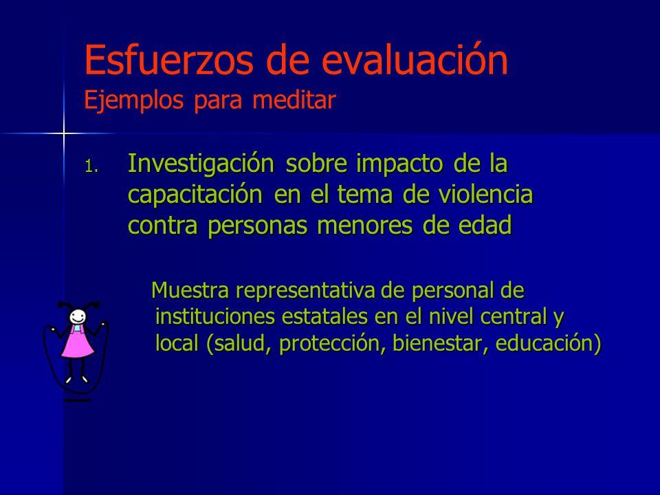 Esfuerzos de evaluación Ejemplos para meditar 1.