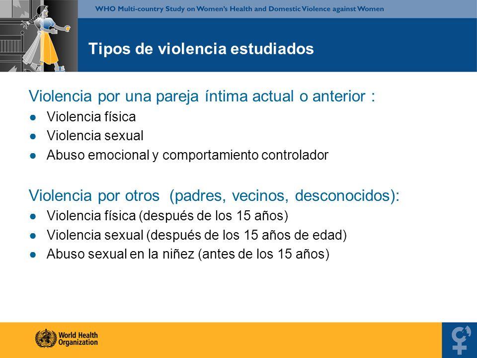 Tipos de violencia estudiados Violencia por una pareja íntima actual o anterior : Violencia física Violencia sexual Abuso emocional y comportamiento c