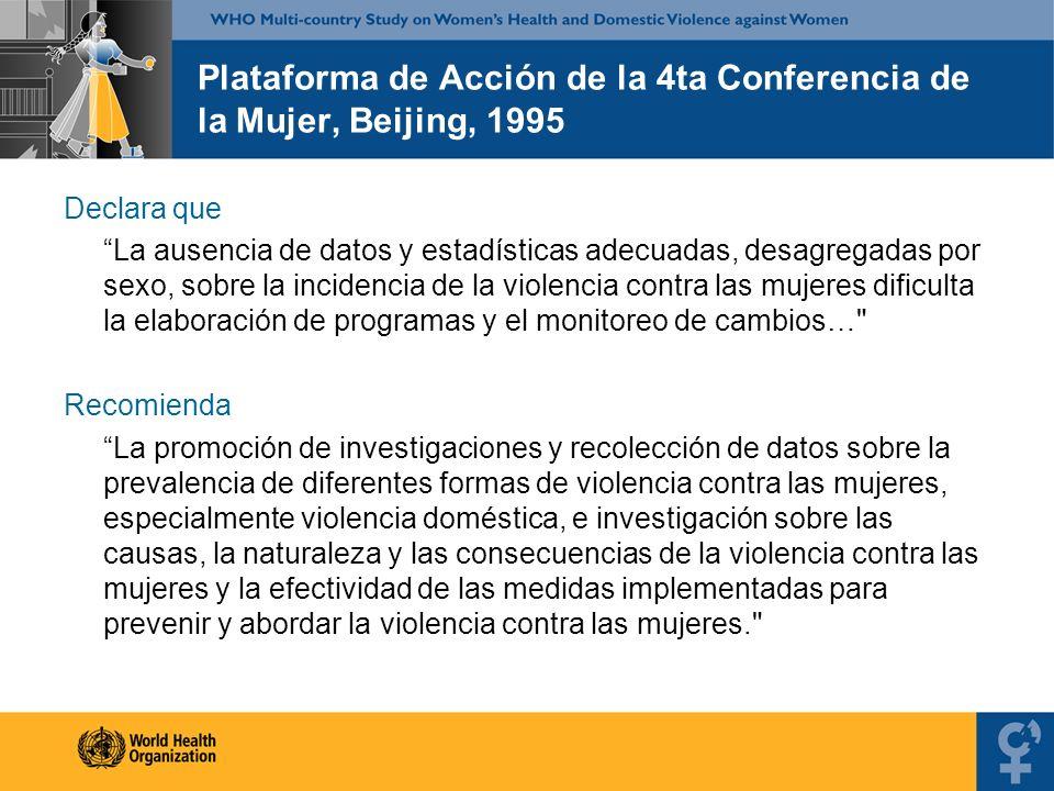 Plataforma de Acción de la 4ta Conferencia de la Mujer, Beijing, 1995 Declara que La ausencia de datos y estadísticas adecuadas, desagregadas por sexo