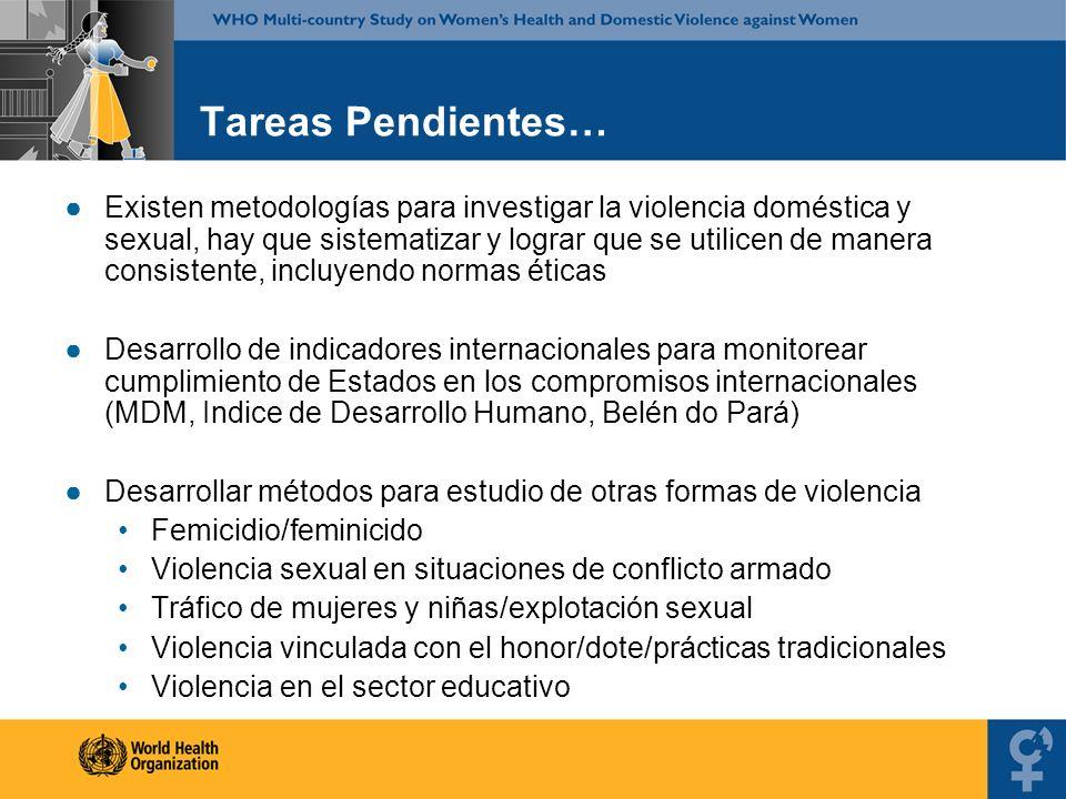 Tareas Pendientes… Existen metodologías para investigar la violencia doméstica y sexual, hay que sistematizar y lograr que se utilicen de manera consi