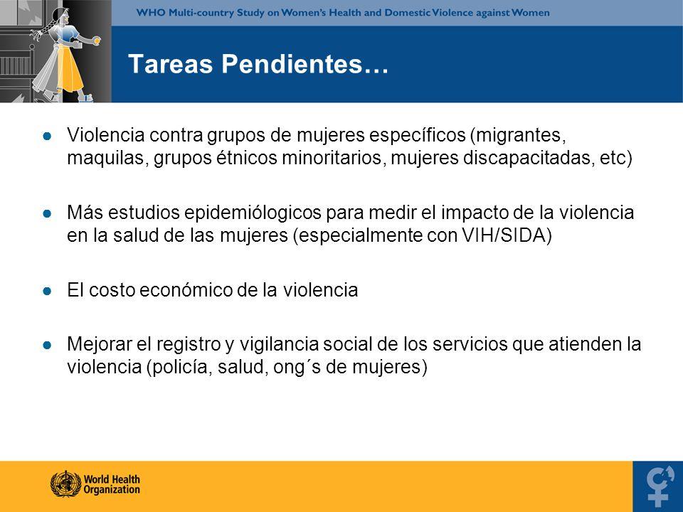 Tareas Pendientes… Violencia contra grupos de mujeres específicos (migrantes, maquilas, grupos étnicos minoritarios, mujeres discapacitadas, etc) Más