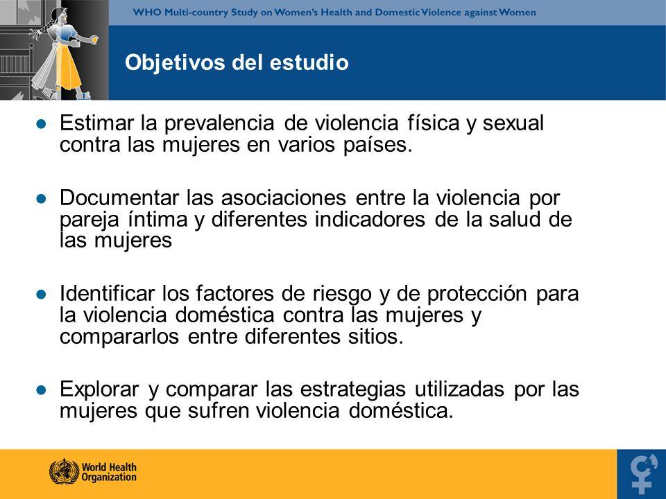 Estimar la prevalencia de violencia física y sexual contra las mujeres en varios países. Documentar las asociaciones entre la violencia por pareja ínt