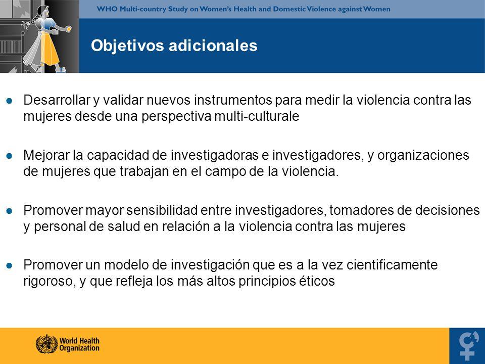 Objetivos adicionales Desarrollar y validar nuevos instrumentos para medir la violencia contra las mujeres desde una perspectiva multi-culturale Mejor