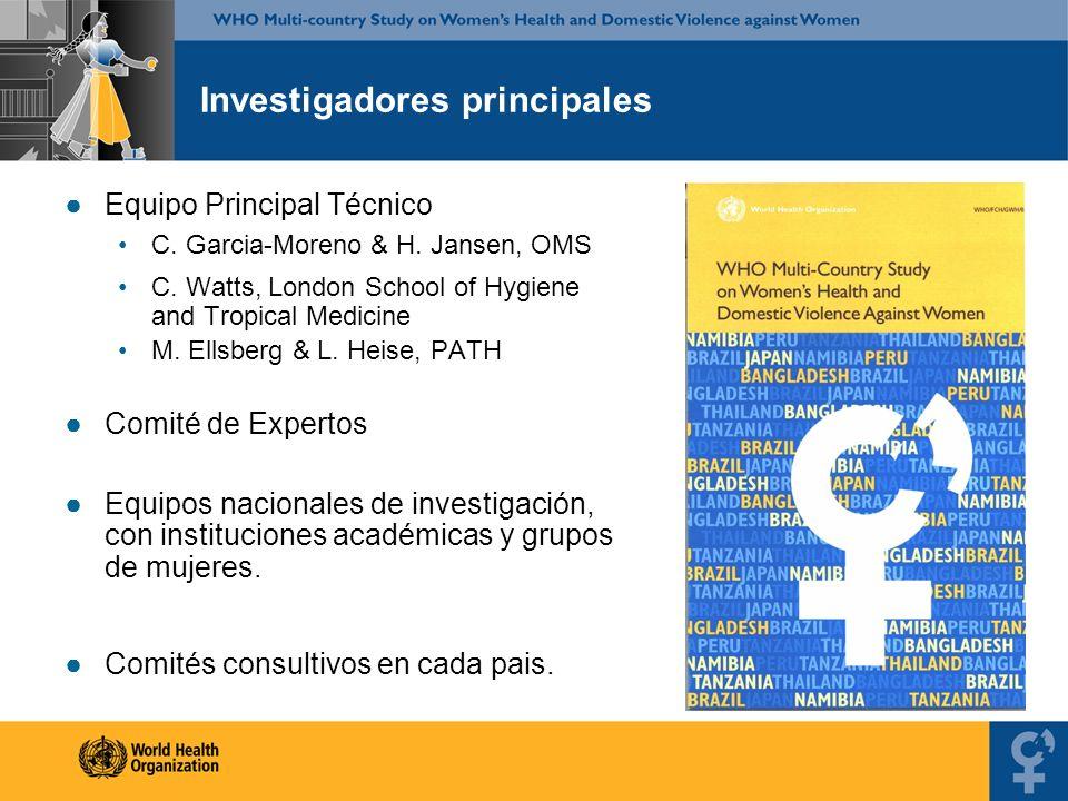 Investigadores principales Equipo Principal Técnico C. Garcia-Moreno & H. Jansen, OMS C. Watts, London School of Hygiene and Tropical Medicine M. Ells