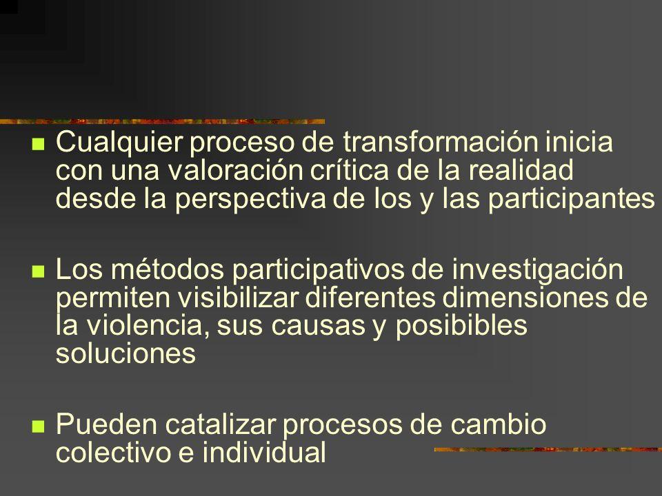 Cualquier proceso de transformación inicia con una valoración crítica de la realidad desde la perspectiva de los y las participantes Los métodos participativos de investigación permiten visibilizar diferentes dimensiones de la violencia, sus causas y posibibles soluciones Pueden catalizar procesos de cambio colectivo e individual