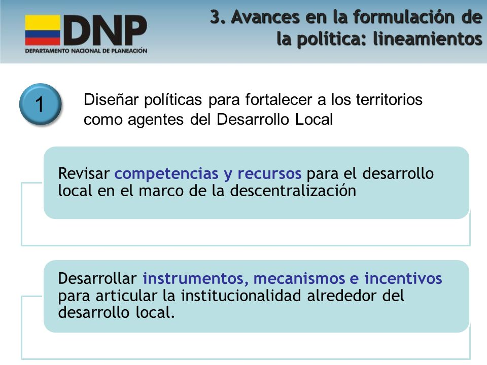 1 1 Diseñar políticas para fortalecer a los territorios como agentes del Desarrollo Local 3. Avances en la formulación de la política: lineamientos Re