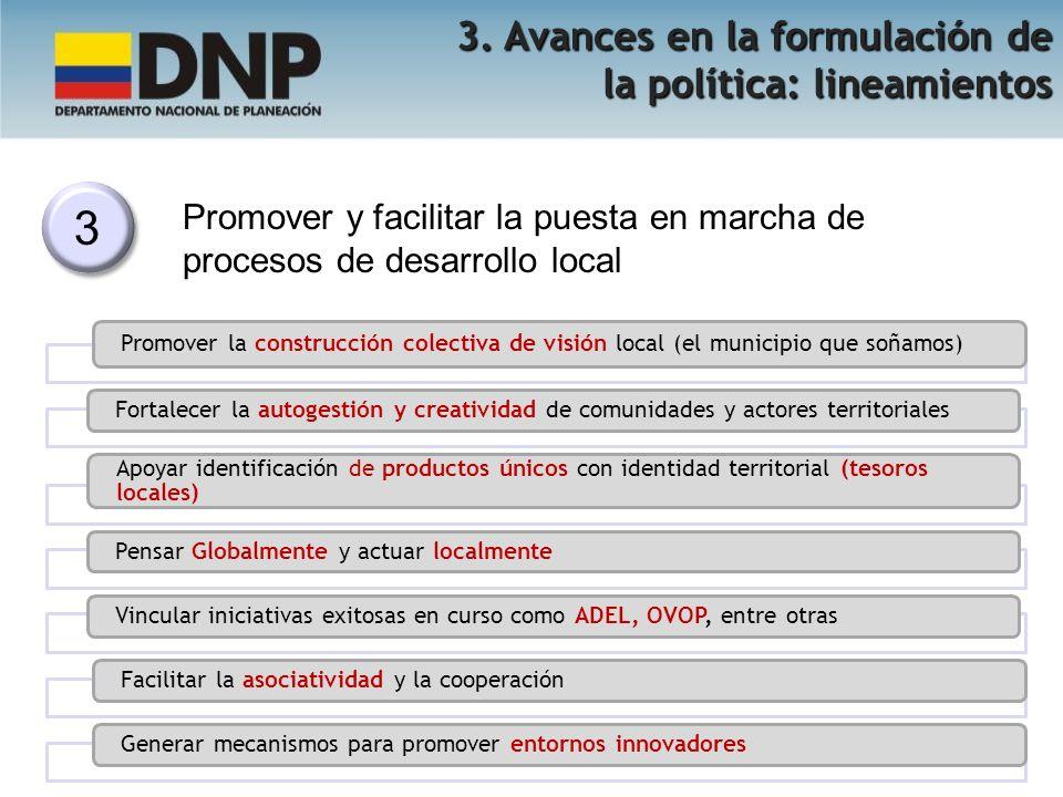 3 3 Promover y facilitar la puesta en marcha de procesos de desarrollo local 3. Avances en la formulación de la política: lineamientos Promover la con