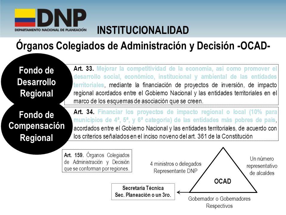 Órganos Colegiados de Administración y Decisión -OCAD- Art. 34. Financiar los proyectos de impacto regional o local (10% para municipios de 4ª, 5ª, y