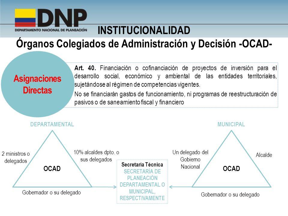 Órganos Colegiados de Administración y Decisión -OCAD- Art. 40. Financiación o cofinanciación de proyectos de inversión para el desarrollo social, eco