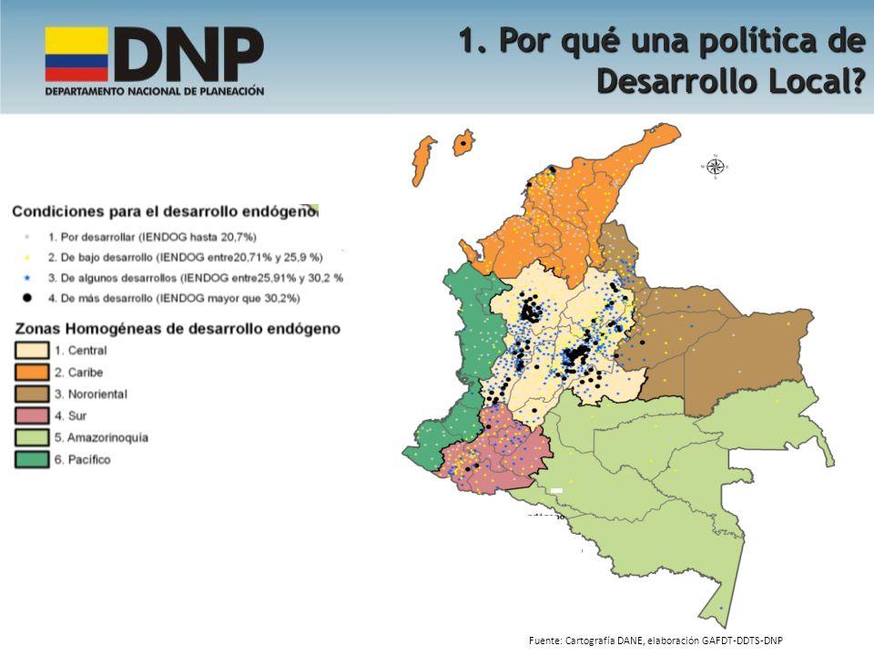 1. Por qué una política de Desarrollo Local? Fuente: Cartografía DANE, elaboración GAFDT-DDTS-DNP