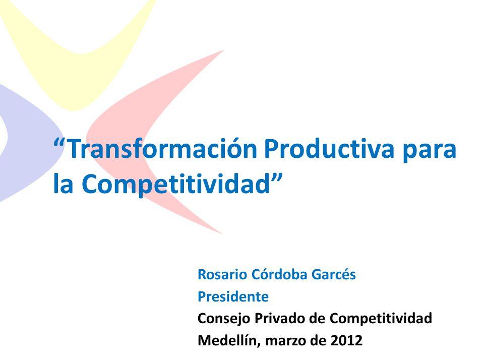 Consejo Privado de Competitividad Transformación Productiva para la Competitividad Rosario Córdoba Garcés Presidente Consejo Privado de Competitividad