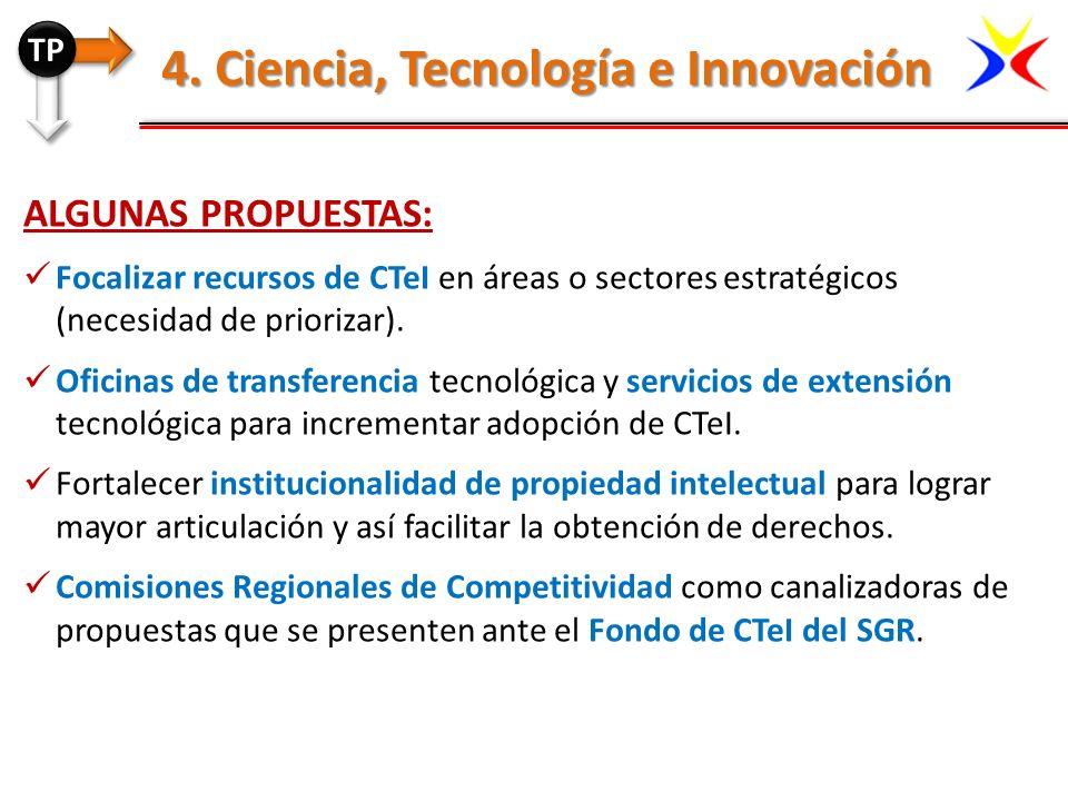 ALGUNAS PROPUESTAS: Focalizar recursos de CTeI en áreas o sectores estratégicos (necesidad de priorizar). Oficinas de transferencia tecnológica y serv