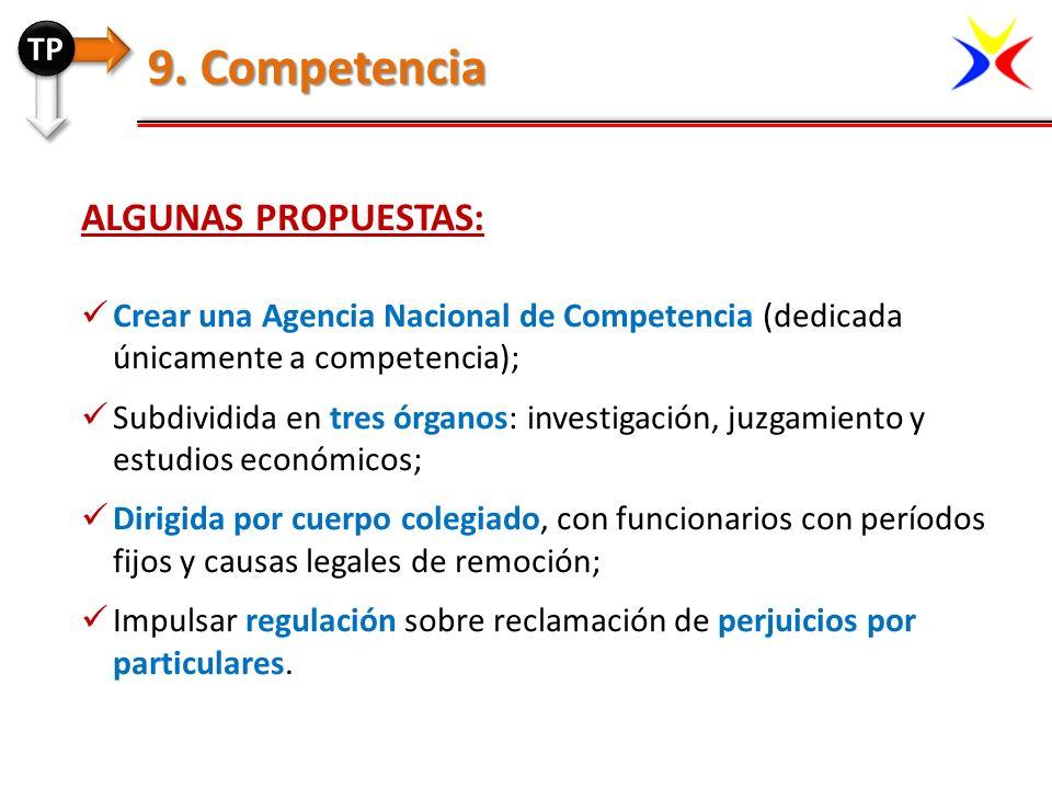 ALGUNAS PROPUESTAS: Crear una Agencia Nacional de Competencia (dedicada únicamente a competencia); Subdividida en tres órganos: investigación, juzgami